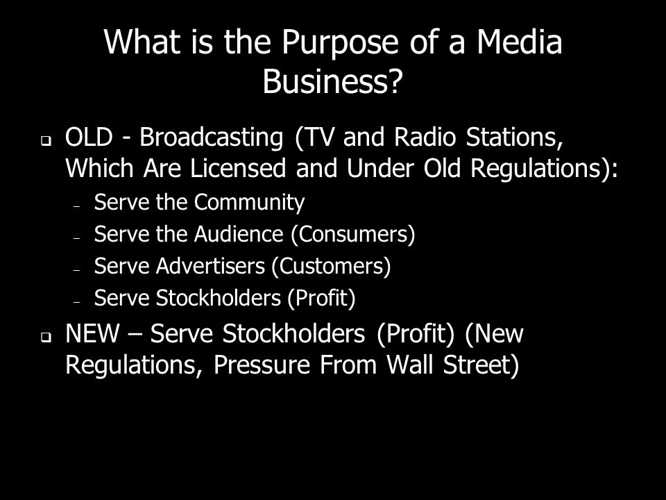 What is the Purpose of a Media Business.