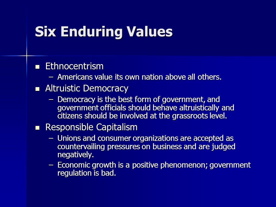 Six Enduring Values Ethnocentrism Ethnocentrism –Americans value its own nation above all others. Altruistic Democracy Altruistic Democracy –Democracy