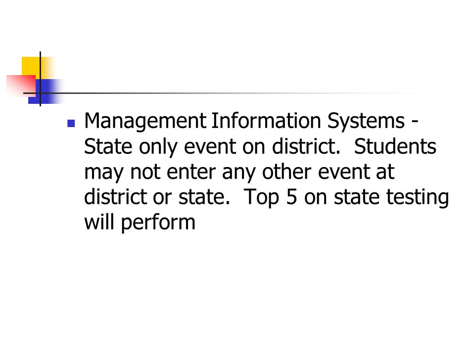 Management Information Systems - State only event on district.
