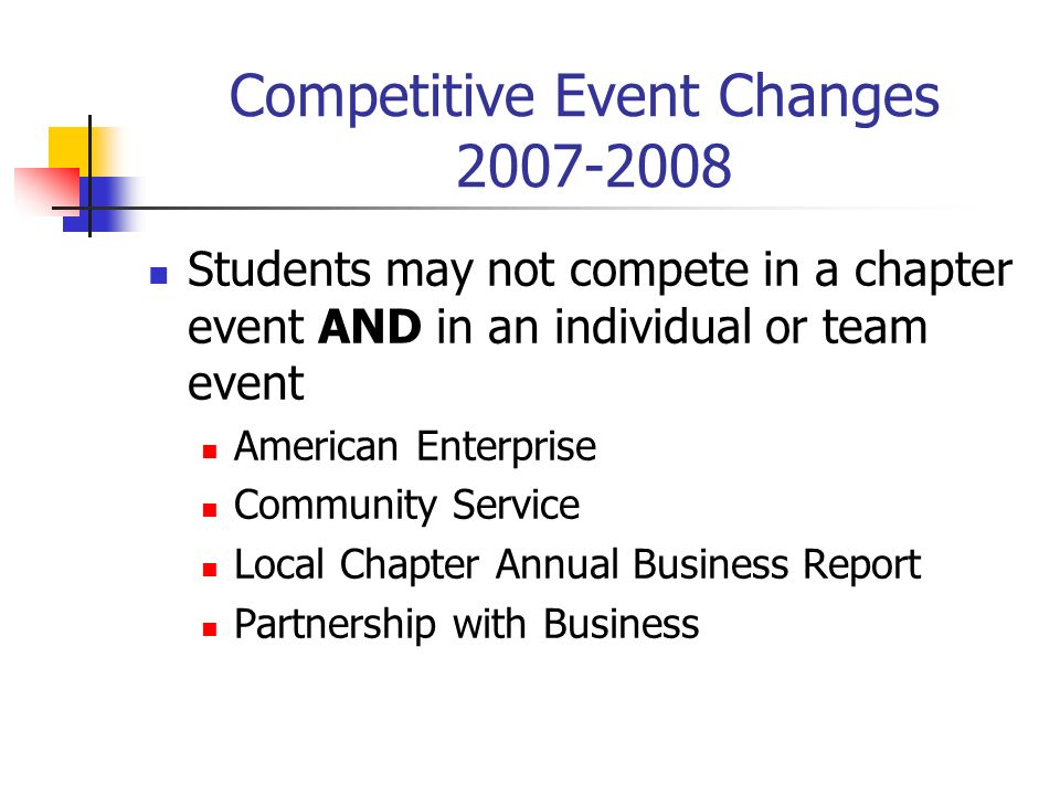 Competitive Event Changes 2007-2008 Students may not compete in a chapter event AND in an individual or team event American Enterprise Community Service Local Chapter Annual Business Report Partnership with Business