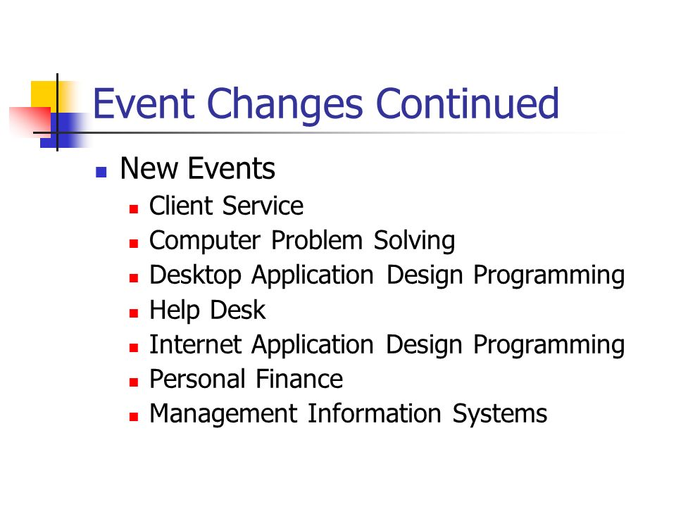 Event Changes Continued New Events Client Service Computer Problem Solving Desktop Application Design Programming Help Desk Internet Application Design Programming Personal Finance Management Information Systems
