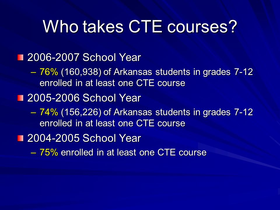 Who takes CTE courses? 2006-2007 School Year –76% (160,938) of Arkansas students in grades 7-12 enrolled in at least one CTE course 2005-2006 School Y