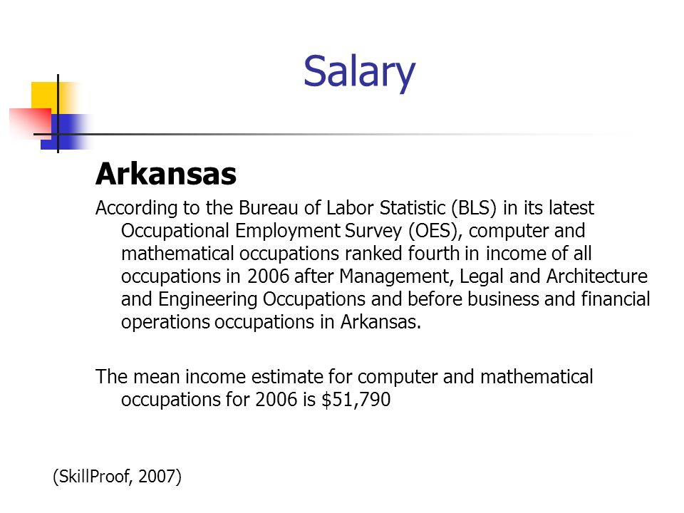 Salary Arkansas According to the Bureau of Labor Statistic (BLS) in its latest Occupational Employment Survey (OES), computer and mathematical occupat