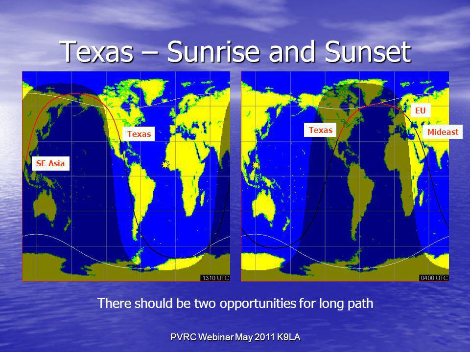 PVRC Webinar May 2011 K9LA Texas – Sunrise and Sunset EU SE Asia Texas Mideast There should be two opportunities for long path