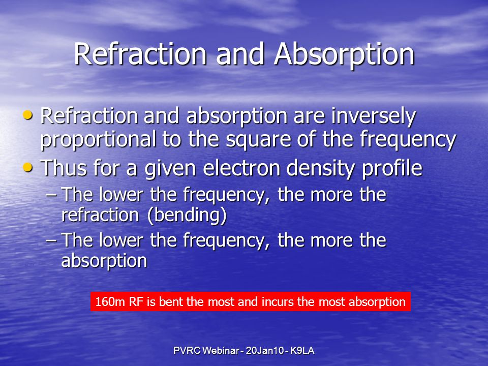 PVRC Webinar - 20Jan10 - K9LA Refraction and Absorption Refraction and absorption are inversely proportional to the square of the frequency Refraction
