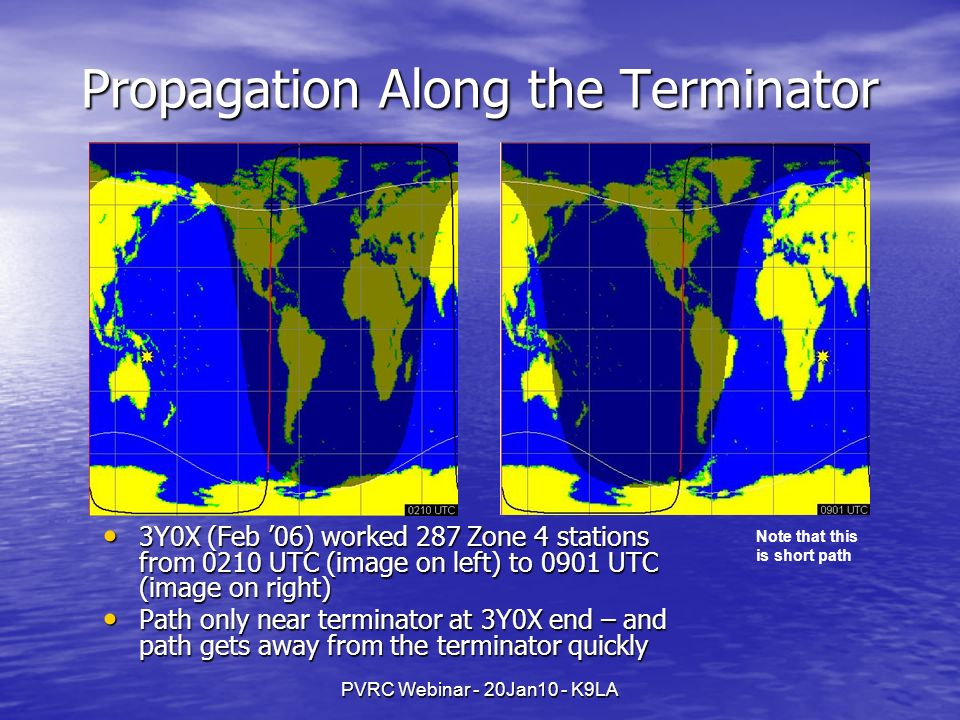 PVRC Webinar - 20Jan10 - K9LA Propagation Along the Terminator 3Y0X (Feb 06) worked 287 Zone 4 stations from 0210 UTC (image on left) to 0901 UTC (ima