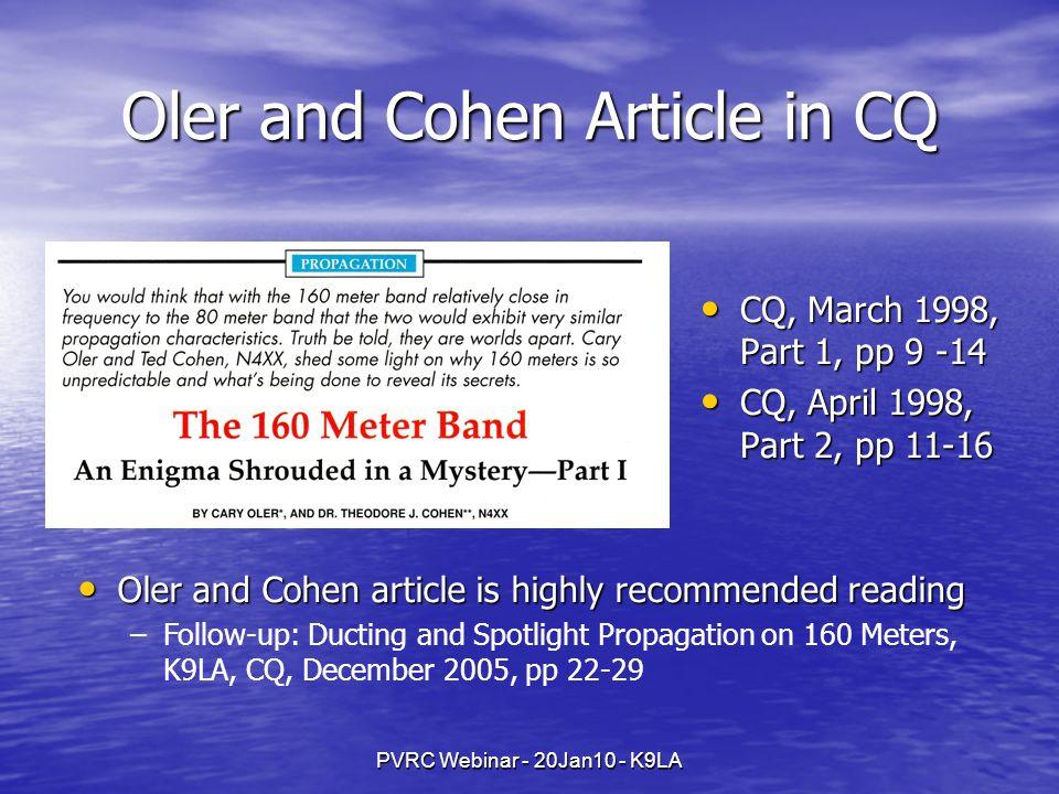PVRC Webinar - 20Jan10 - K9LA Oler and Cohen Article in CQ CQ, March 1998, Part 1, pp 9 -14 CQ, March 1998, Part 1, pp 9 -14 CQ, April 1998, Part 2, p