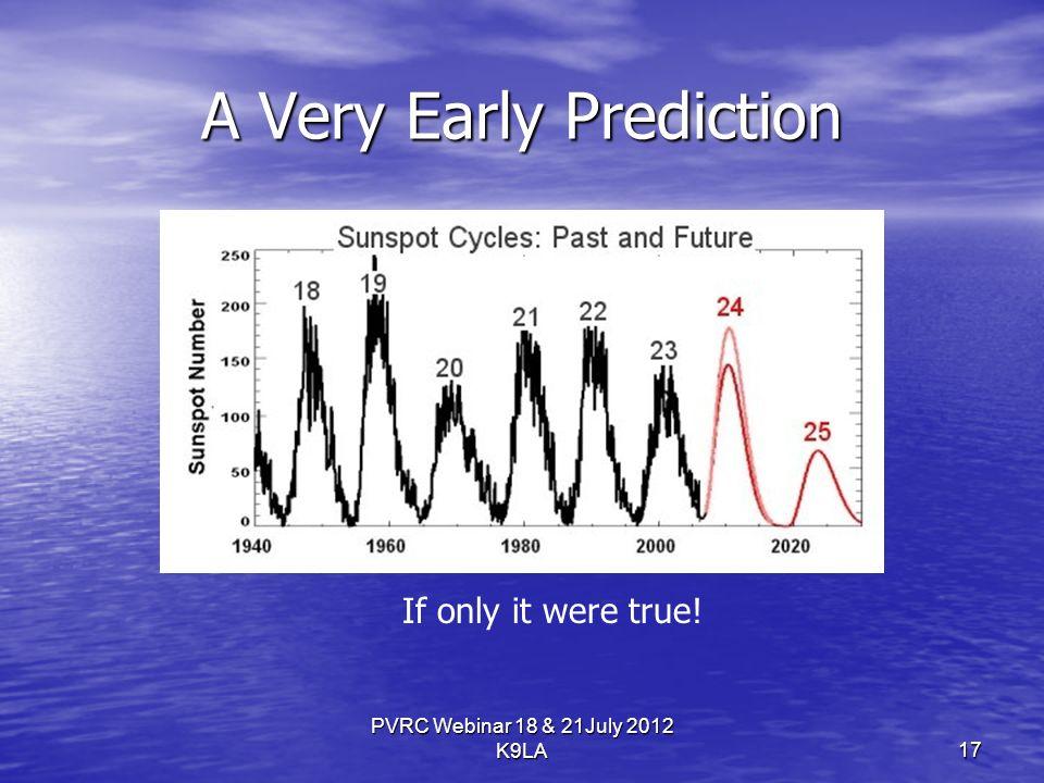 A Very Early Prediction PVRC Webinar 18 & 21July 2012 K9LA If only it were true! 17