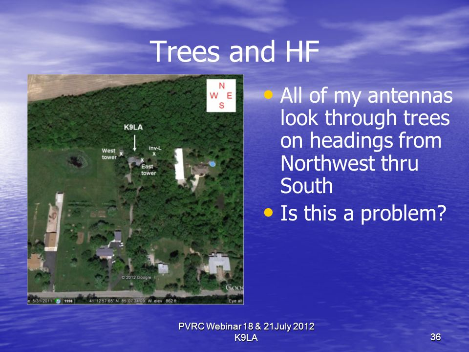 Trees and HF All of my antennas look through trees on headings from Northwest thru South Is this a problem.