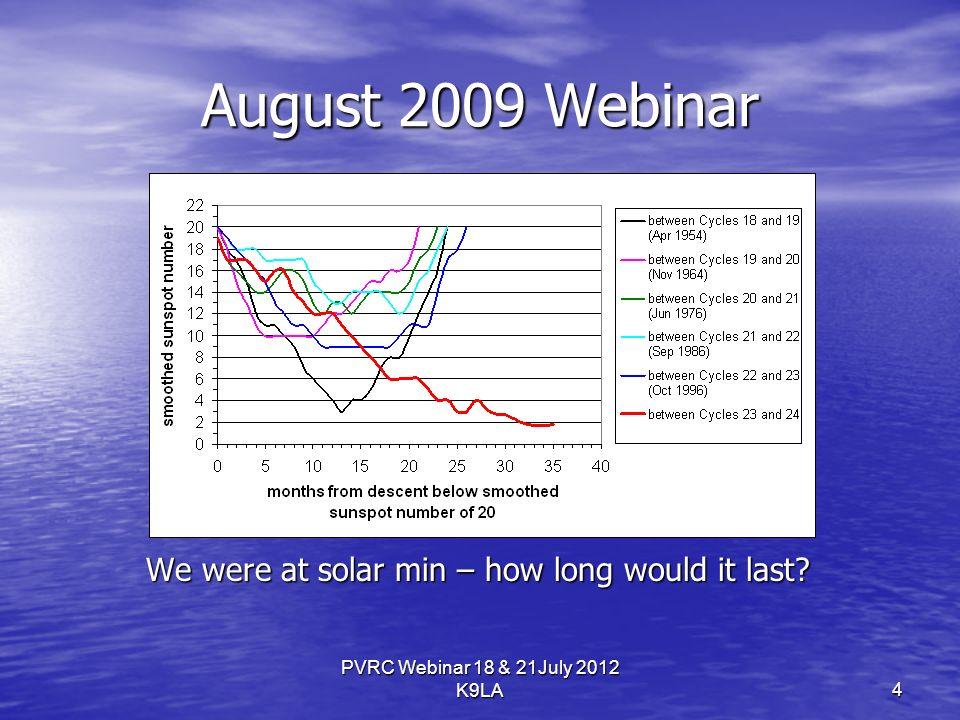 August 2009 Webinar We were at solar min – how long would it last.