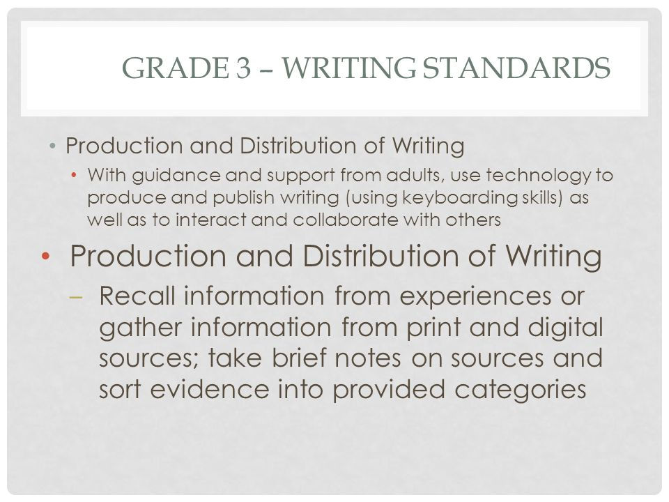 GRADE 3 – WRITING STANDARDS Production and Distribution of Writing With guidance and support from adults, use technology to produce and publish writin