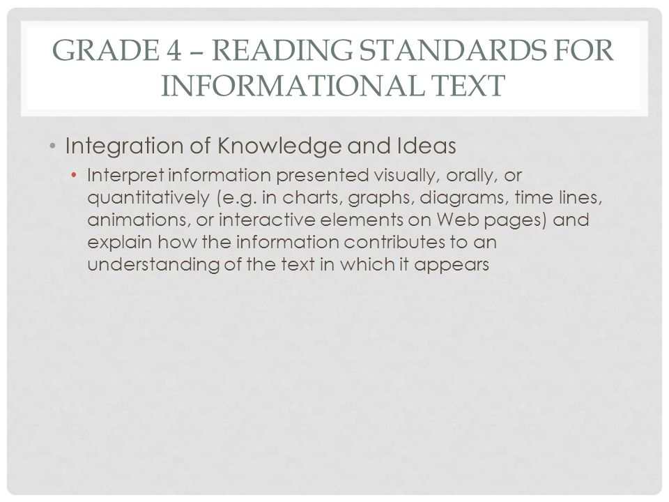 GRADE 4 – READING STANDARDS FOR INFORMATIONAL TEXT Integration of Knowledge and Ideas Interpret information presented visually, orally, or quantitativ