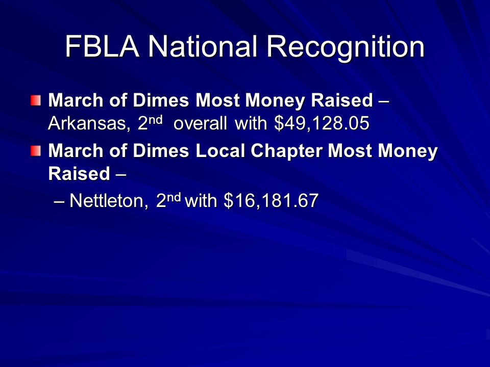 FBLA National Recognition March of Dimes Most Money Raised – Arkansas, 2 nd overall with $49, March of Dimes Local Chapter Most Money Raised – –Nettleton, 2 nd with $16,181.67