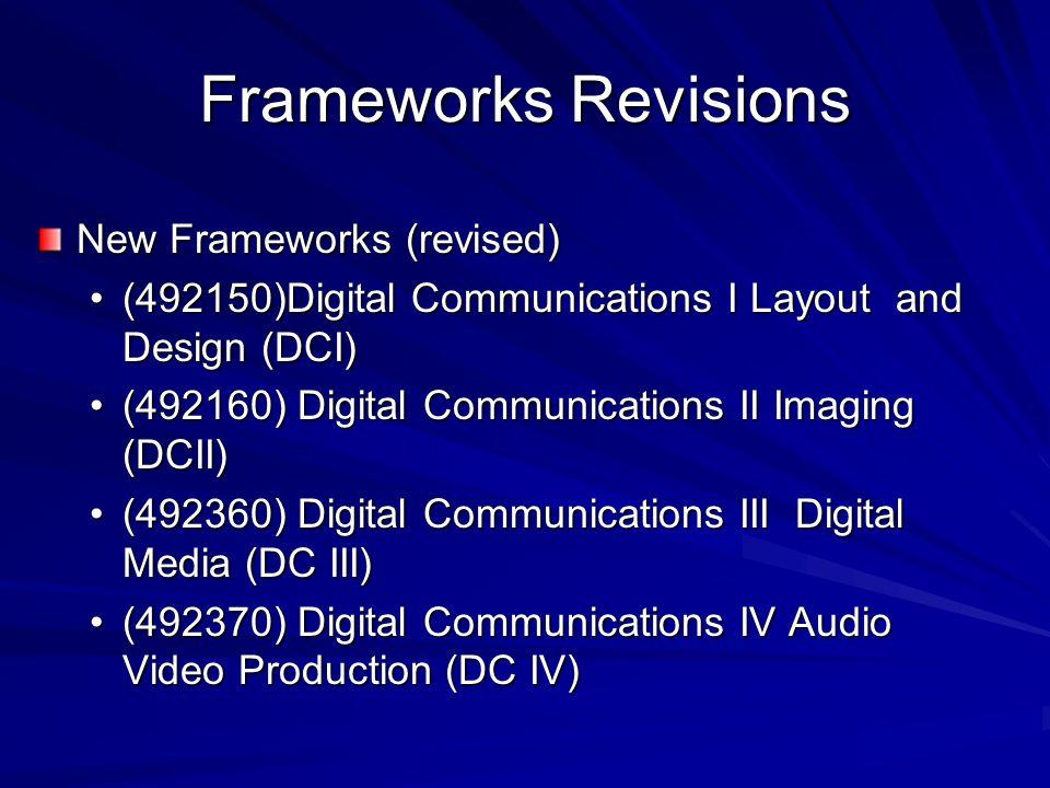 Frameworks Revisions New Frameworks (revised) (492150)Digital Communications I Layout and Design (DCI)(492150)Digital Communications I Layout and Desi