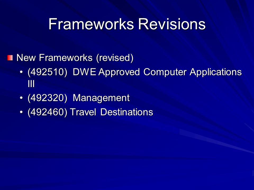 Frameworks Revisions New Frameworks (revised) (492510) DWE Approved Computer Applications III(492510) DWE Approved Computer Applications III (492320)