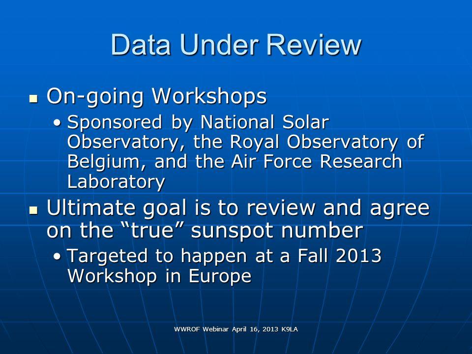WWROF Webinar April 16, 2013 K9LA Data Under Review On-going Workshops On-going Workshops Sponsored by National Solar Observatory, the Royal Observato