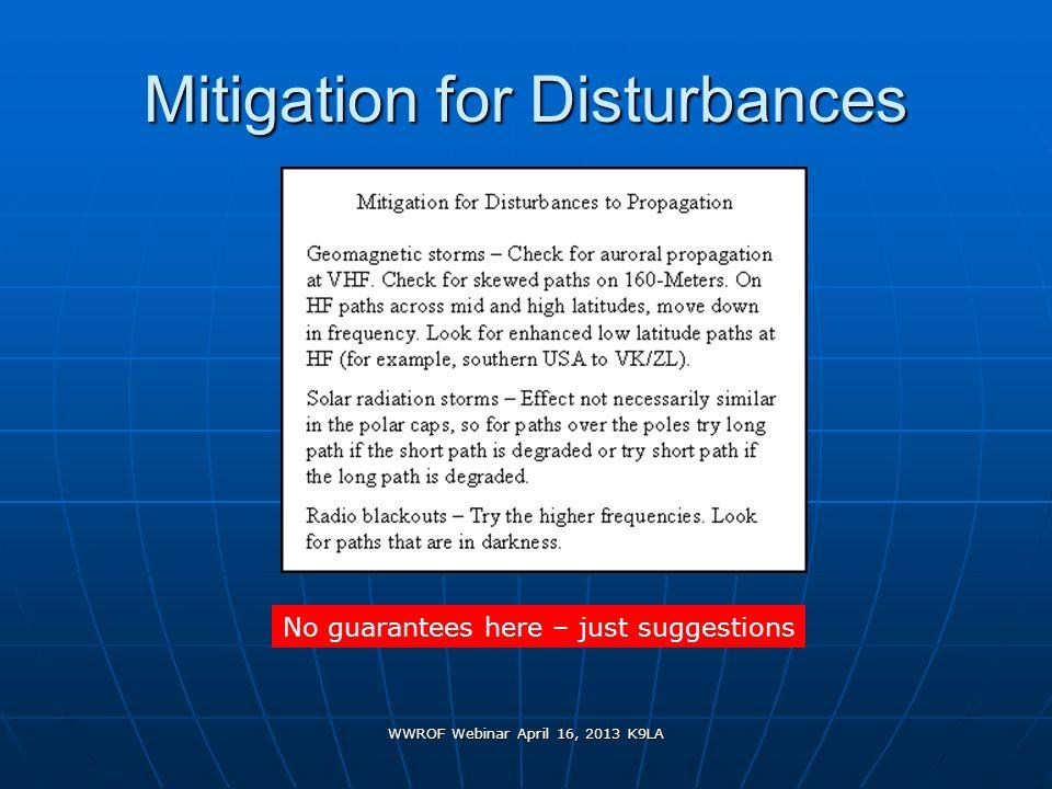 WWROF Webinar April 16, 2013 K9LA Mitigation for Disturbances No guarantees here – just suggestions