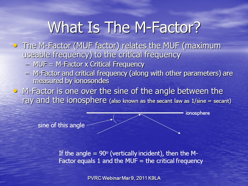 PVRC Webinar Mar 9, 2011 K9LA What Is The M-Factor.