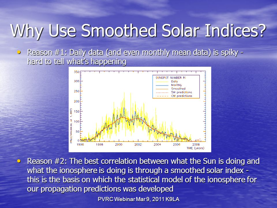 PVRC Webinar Mar 9, 2011 K9LA Why Use Smoothed Solar Indices.