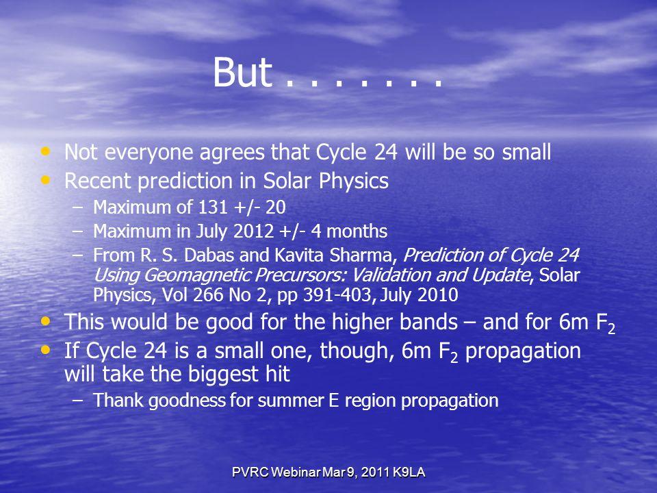 PVRC Webinar Mar 9, 2011 K9LA Sunspots and Solar Flux During Cycle 23