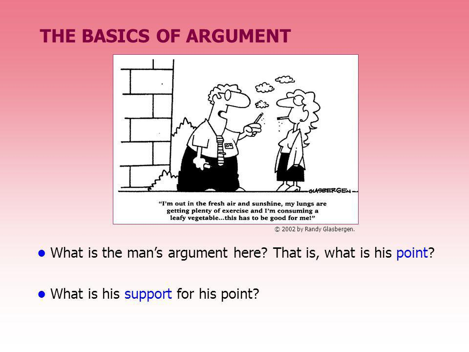 THE BASICS OF ARGUMENT What is the mans argument here? That is, what is his point? What is his support for his point? © 2002 by Randy Glasbergen.