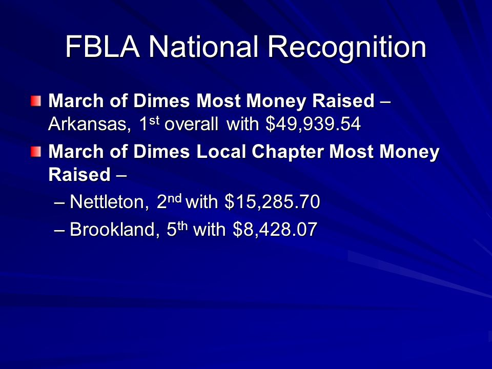 FBLA National Recognition March of Dimes Most Money Raised – Arkansas, 1 st overall with $49,939.54 March of Dimes Local Chapter Most Money Raised – –Nettleton, 2 nd with $15,285.70 –Brookland, 5 th with $8,428.07