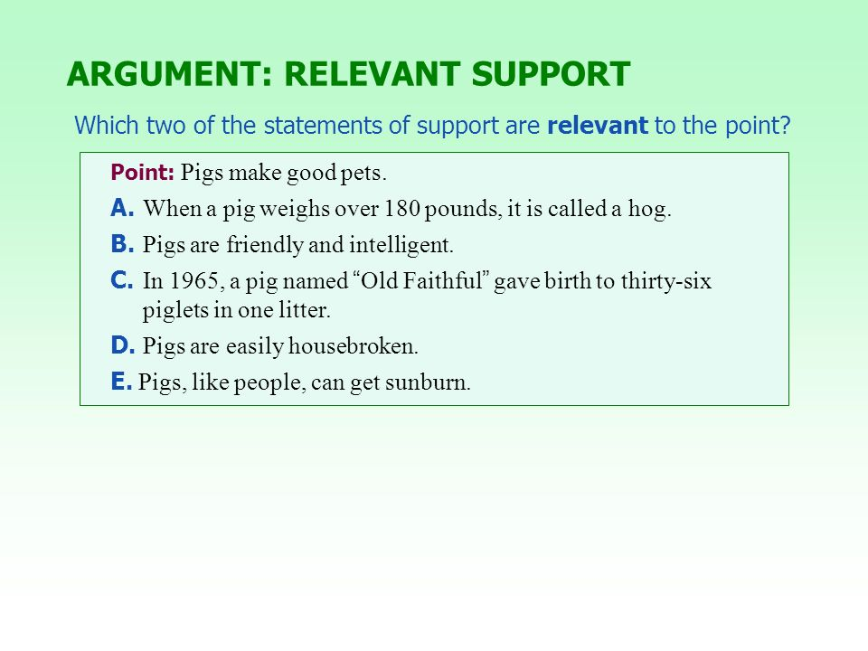 Point: Pigs make good pets. A. When a pig weighs over 180 pounds, it is called a hog. B. Pigs are friendly and intelligent. C. In 1965, a pig named Ol