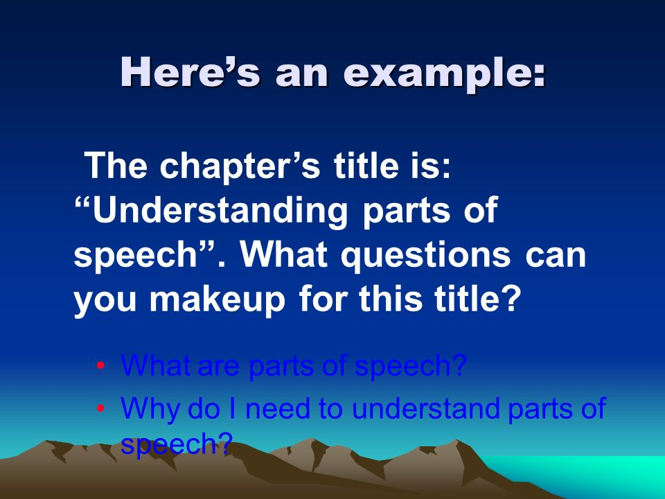Heres an example: What are parts of speech? Why do I need to understand parts of speech? The chapters title is: Understanding parts of speech. What qu