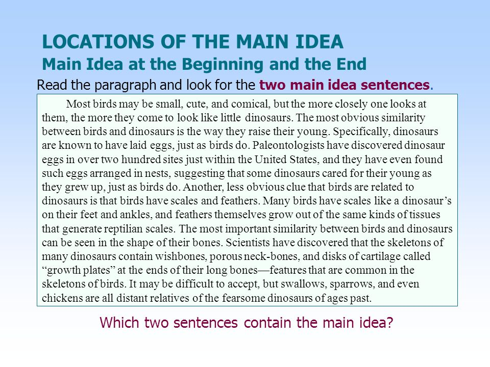 Main Idea at the Beginning and the End LOCATIONS OF THE MAIN IDEA Which two sentences contain the main idea? Most birds may be small, cute, and comica
