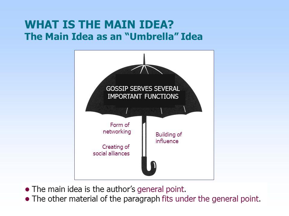 HOW DO YOU RECOGNIZE A MAIN IDEA.