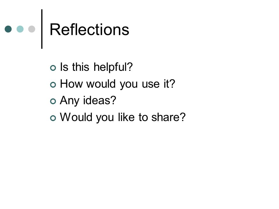 Reflections Is this helpful How would you use it Any ideas Would you like to share