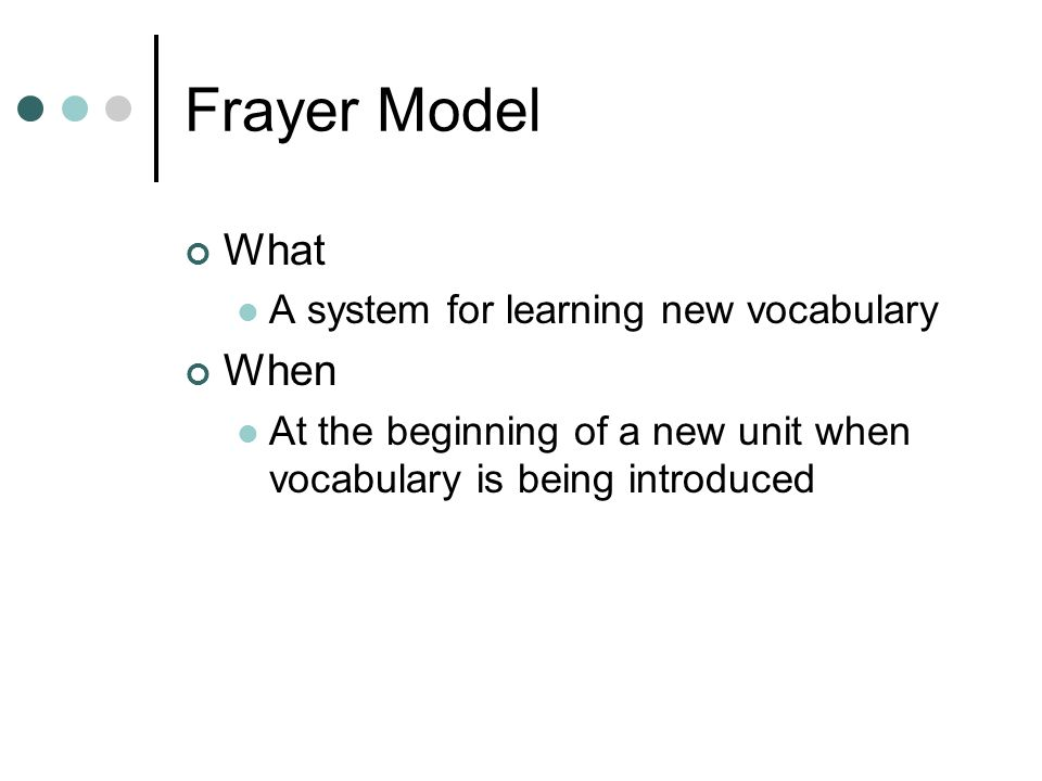 Frayer Model What A system for learning new vocabulary When At the beginning of a new unit when vocabulary is being introduced