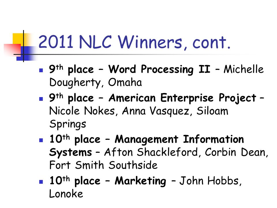 2011 NLC Winners, cont. 9 th place – Word Processing II – Michelle Dougherty, Omaha 9 th place – American Enterprise Project – Nicole Nokes, Anna Vasq