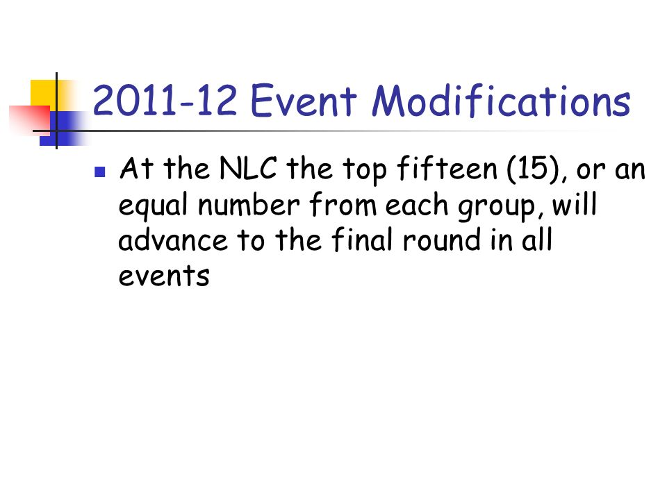 2011-12 Event Modifications At the NLC the top fifteen (15), or an equal number from each group, will advance to the final round in all events