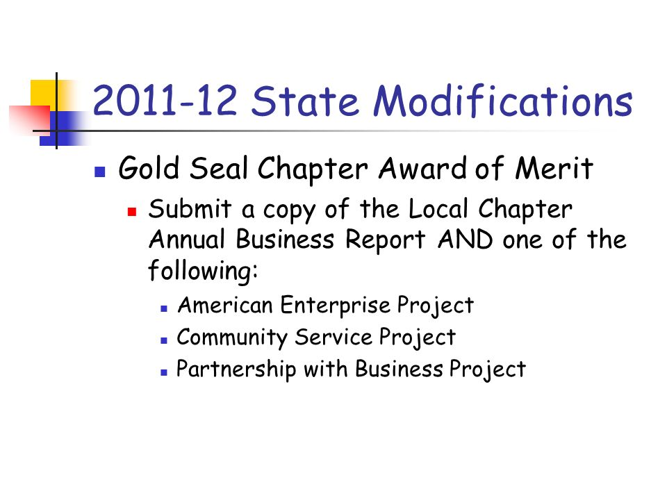 2011-12 State Modifications Gold Seal Chapter Award of Merit Submit a copy of the Local Chapter Annual Business Report AND one of the following: Ameri
