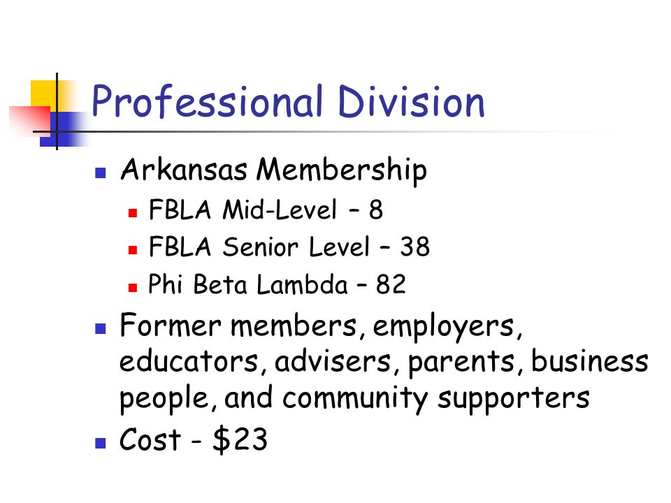 Professional Division Arkansas Membership FBLA Mid-Level – 8 FBLA Senior Level – 38 Phi Beta Lambda – 82 Former members, employers, educators, adviser