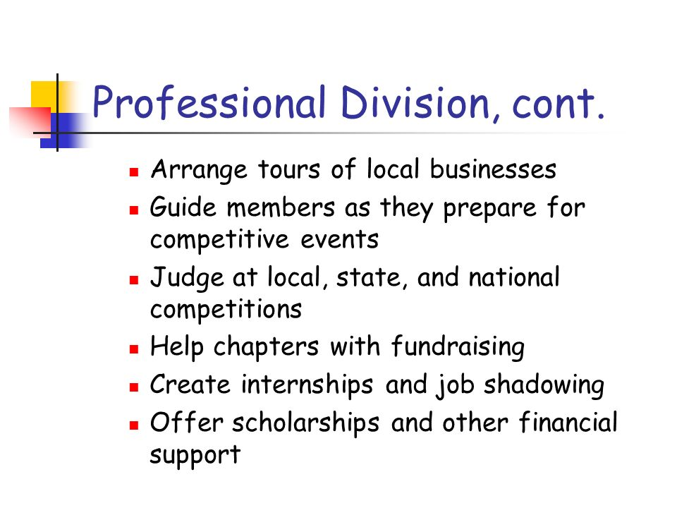 Professional Division, cont. Arrange tours of local businesses Guide members as they prepare for competitive events Judge at local, state, and nationa
