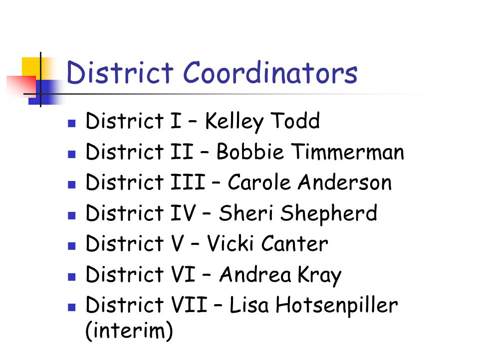 District Coordinators District I – Kelley Todd District II – Bobbie Timmerman District III – Carole Anderson District IV – Sheri Shepherd District V –