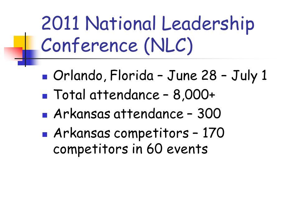2011 National Leadership Conference (NLC) Orlando, Florida – June 28 – July 1 Total attendance – 8,000+ Arkansas attendance – 300 Arkansas competitors – 170 competitors in 60 events