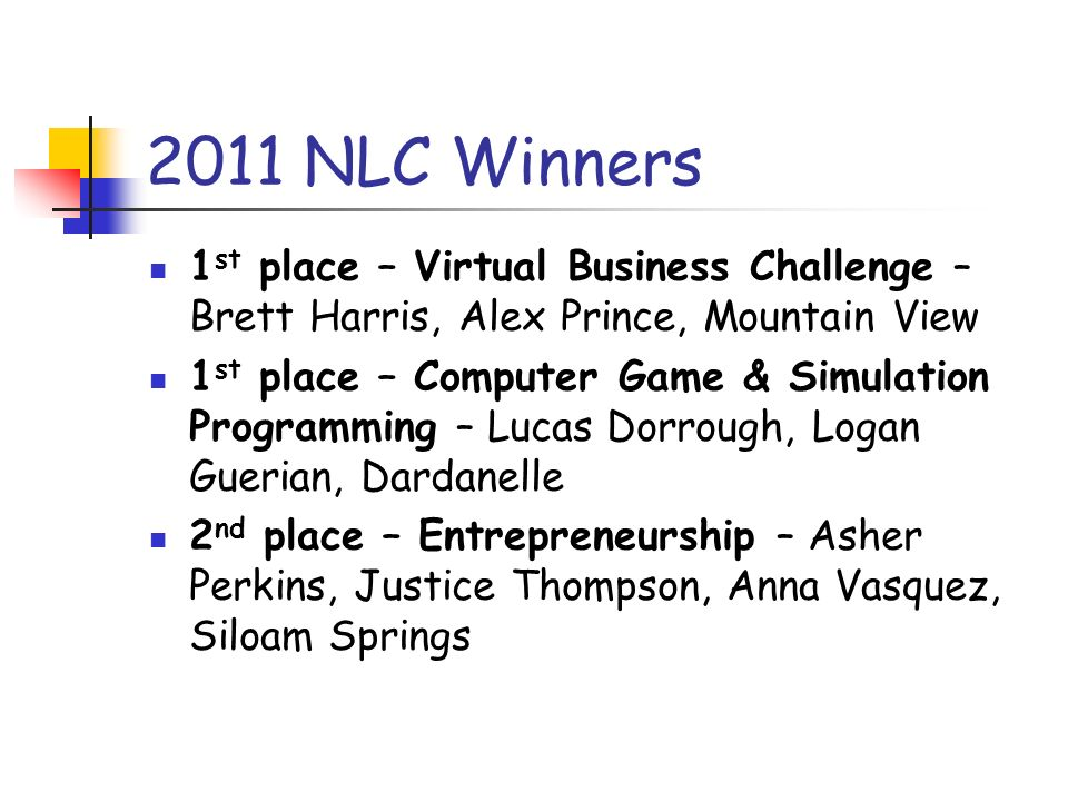 2011 NLC Winners 1 st place – Virtual Business Challenge – Brett Harris, Alex Prince, Mountain View 1 st place – Computer Game & Simulation Programmin