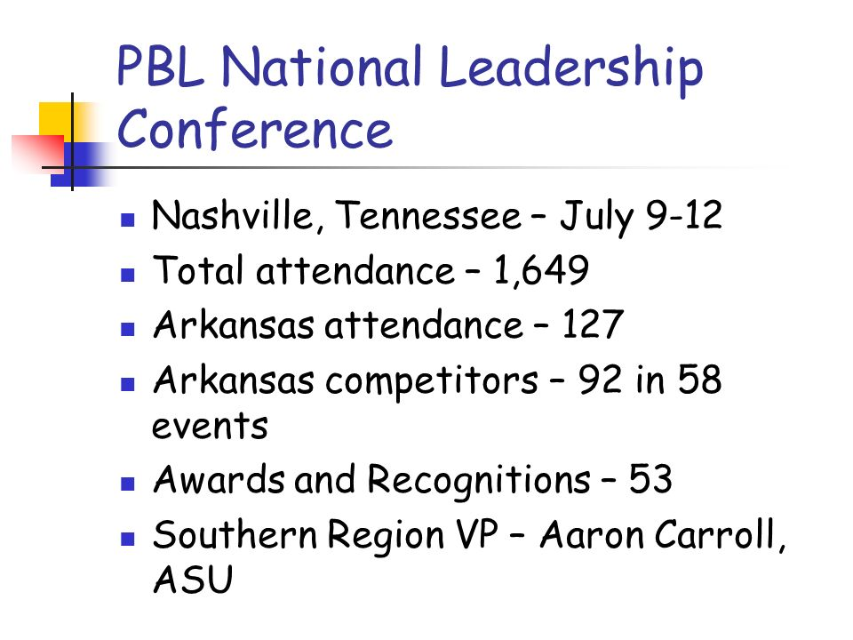 PBL National Leadership Conference Nashville, Tennessee – July 9-12 Total attendance – 1,649 Arkansas attendance – 127 Arkansas competitors – 92 in 58 events Awards and Recognitions – 53 Southern Region VP – Aaron Carroll, ASU