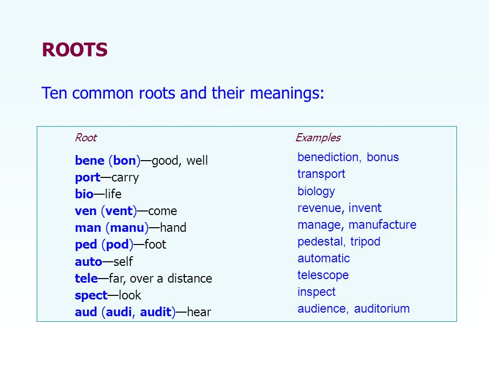 bene (bon)good, well portcarry biolife ven (vent)come man (manu)hand ped (pod)foot autoself telefar, over a distance spectlook aud (audi, audit)hear ROOTS Ten common roots and their meanings: Root Examples benediction, bonus transport biology revenue, invent manage, manufacture pedestal, tripod automatic telescope inspect audience, auditorium