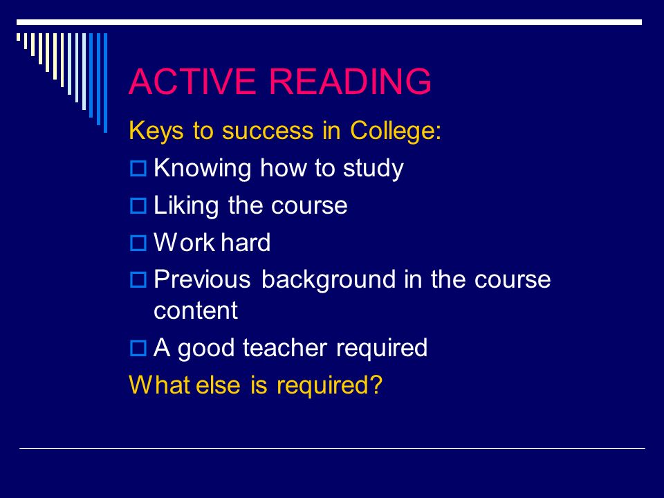 READING.Do you like to read. How many courses are you taking that requires reading.
