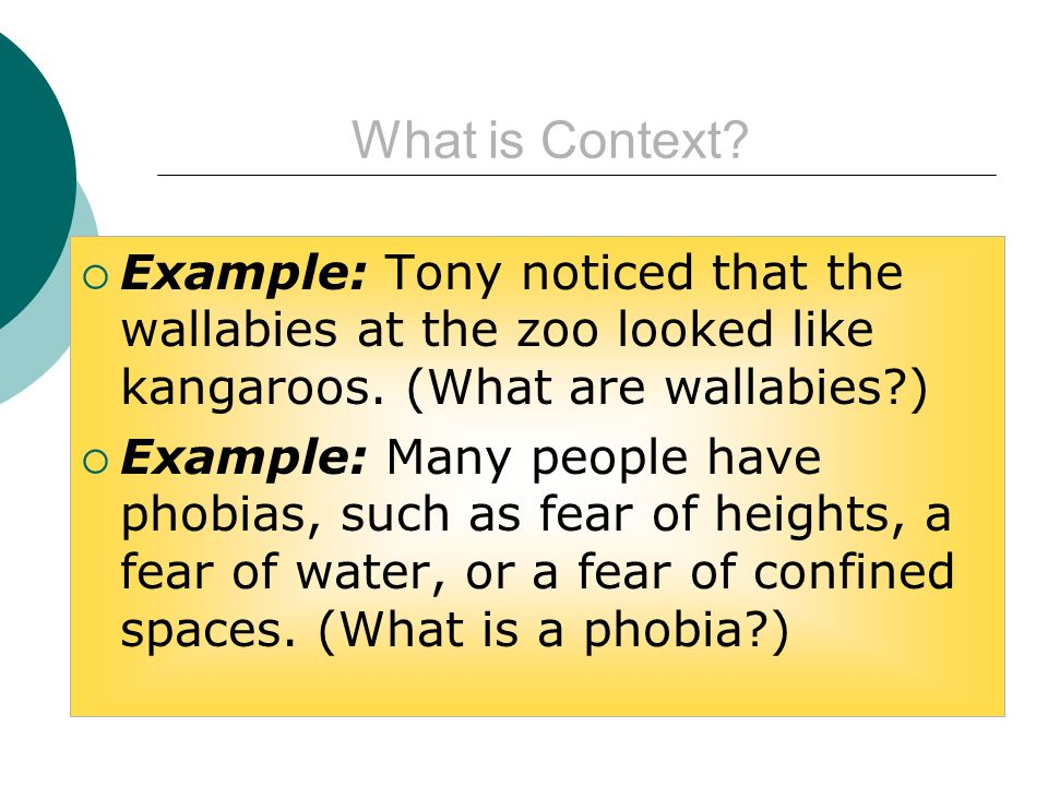 What is Context.Example: Tony noticed that the wallabies at the zoo looked like kangaroos.
