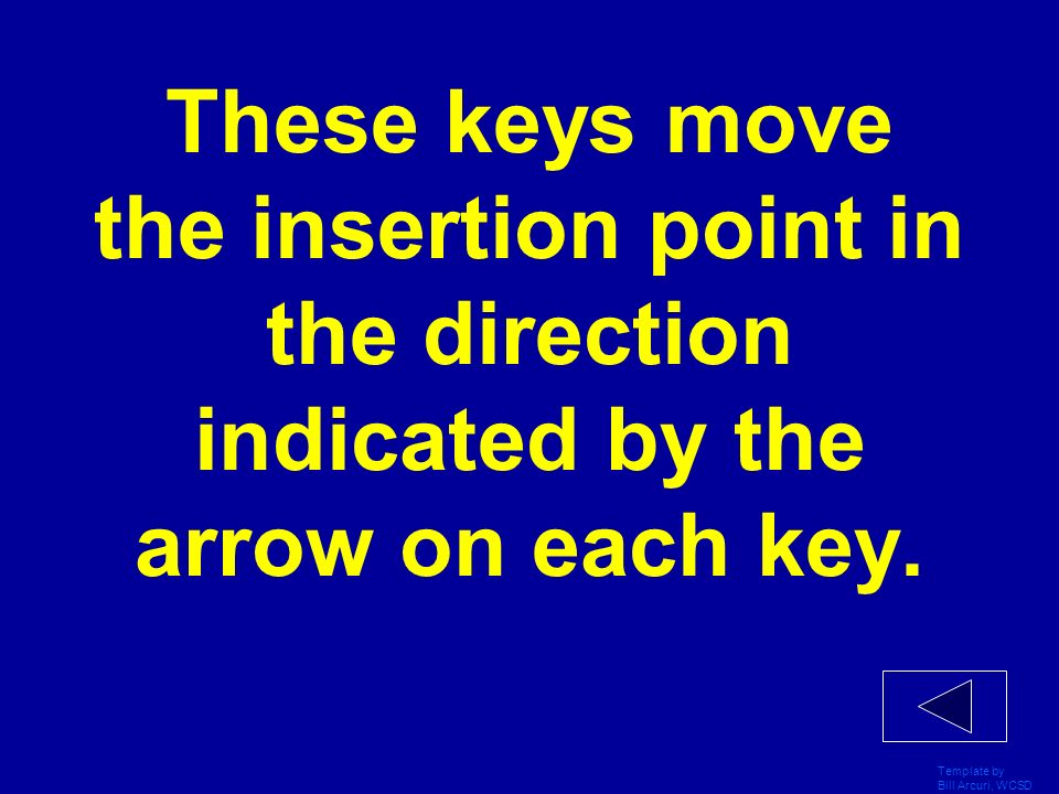 Template by Bill Arcuri, WCSD These keys move the insertion point in the direction indicated by the arrow on each key.
