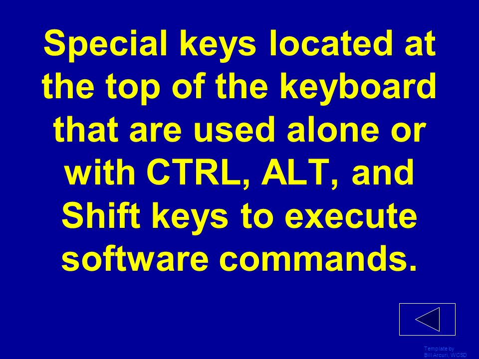 Template by Bill Arcuri, WCSD Special keys located at the top of the keyboard that are used alone or with CTRL, ALT, and Shift keys to execute software commands.