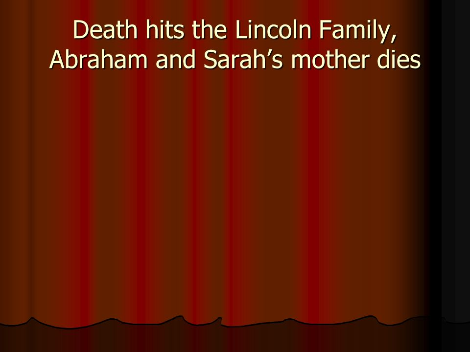 Death hits the Lincoln Family, Abraham and Sarahs mother dies