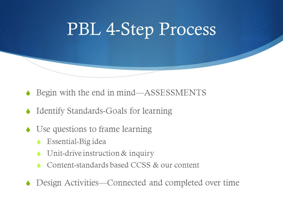 PBL 4-Step Process Begin with the end in mindASSESSMENTS Identify Standards-Goals for learning Use questions to frame learning Essential-Big idea Unit-drive instruction & inquiry Content-standards based CCSS & our content Design ActivitiesConnected and completed over time