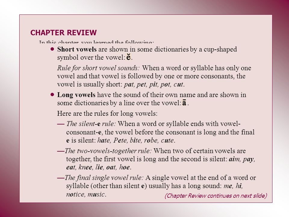 CHAPTER REVIEW In this chapter, you learned the following: Short vowels are shown in some dictionaries by a cup-shaped symbol over the vowel:. Rule fo
