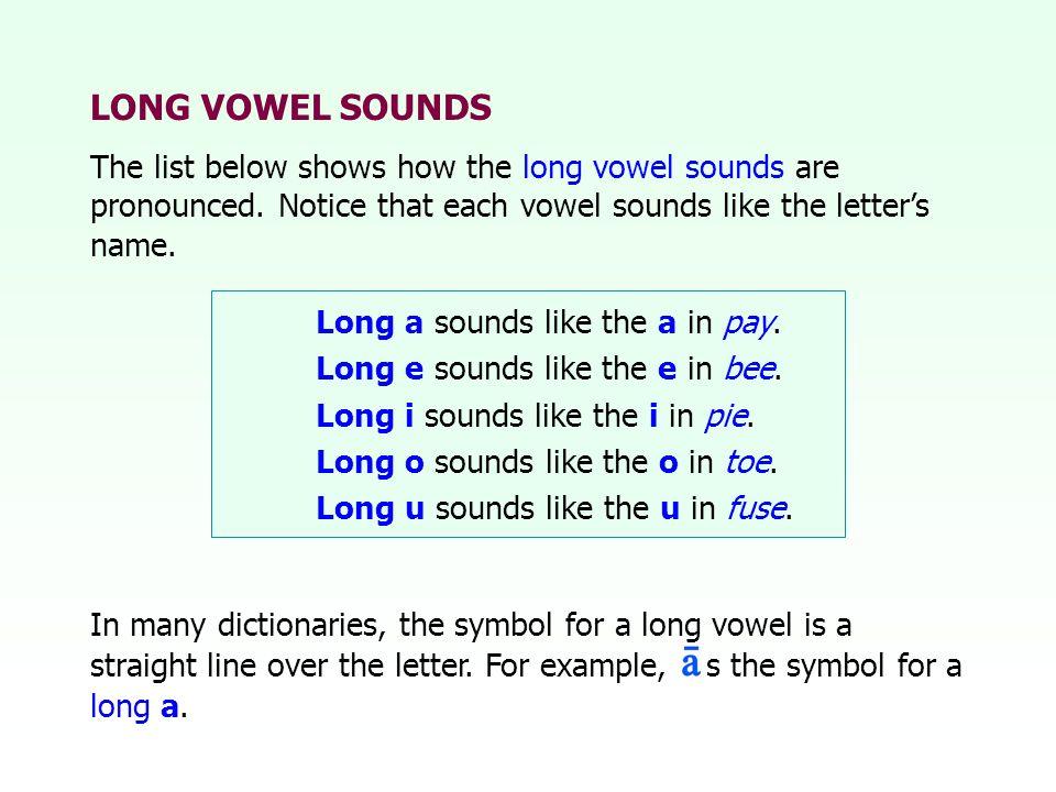 LONG VOWEL SOUNDS The list below shows how the long vowel sounds are pronounced. Notice that each vowel sounds like the letters name. Long a sounds li